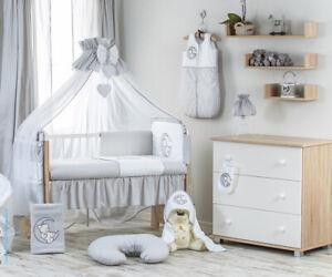 Babybett mit 10-tlg Komplett-Set Bettwäsche umbaubar zum Juniorbett Teddy blau