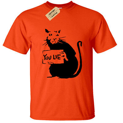 Abile You Lie Rat Bansky Uomo Tshirt Maglietta Cool Street Art Hipster Graffiti