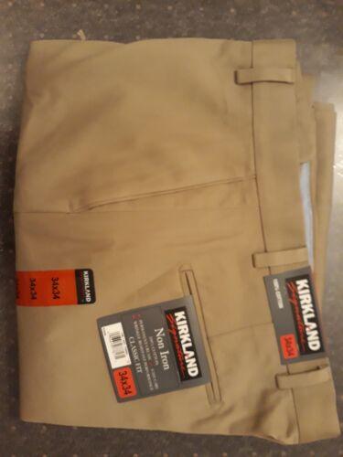 Nouvelle signature Homme Non-Fer Classic Fit 34 x 34 100/% Coton Pantalon Kaki//Biscuit