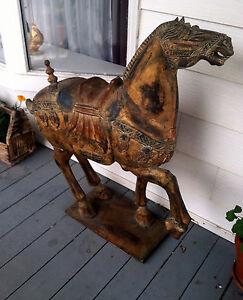 antique chinese wooden hand carved tang dynasty type gilt large war bronco horse. Black Bedroom Furniture Sets. Home Design Ideas