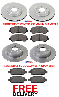 Front Brake Pads Brake Discs 295mm Vented Nissan Qashqai 1.5 dCi 1.6 dCi AWD
