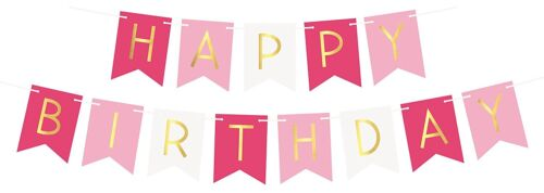 Pastel Perfection Garland Gold Foiled Happy Birthday Bunting Banner Party Décor