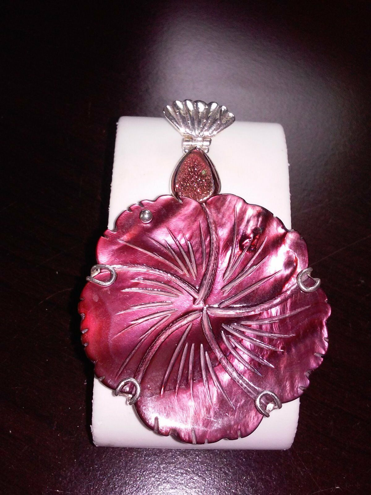 RED CARVED SHELL & RED DRUZY REAL 925 SS Pendant - 18.7 grams