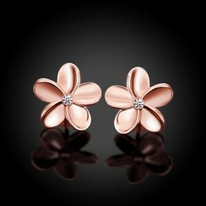 Women-039-s-Rose-Gold-Plated-Crystal-Lovely-Small-Flower-Ear-Stud-Earrings-Solid-CA
