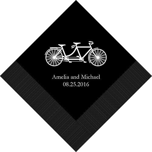 500 Tandem Vélo Personnalisé Mariage Déjeuner Serviettes