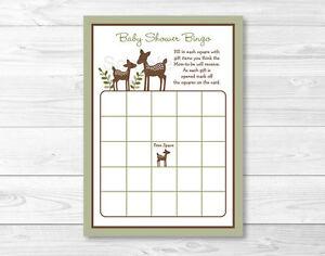 Image Is Loading Woodland Deer Baby Shower Bingo Cards Printable
