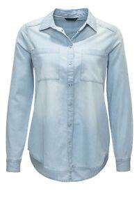 Only-Damen-Jeansbluse-Jeanshemd-Hemdbluse-Jeans-Bluse-Hemd-Denim-Shirt-Blue-SALE