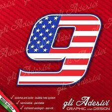 Adesivo Stickers NUMERO 9 moto auto cross gara USA Star & Stripes