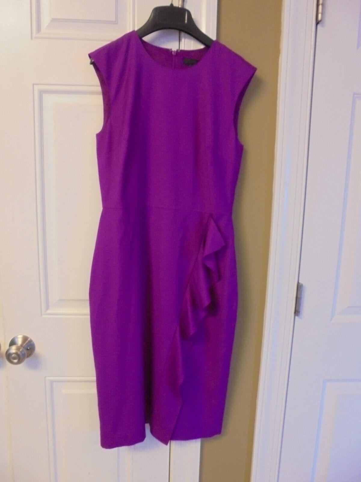 J CREW RUFFLE SHEATH DRESS 120 S WOOL BRIGHT  PLUM Größe-2  G8320