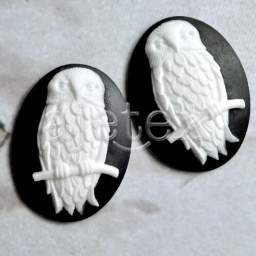 2//4pcs New Lucite Regin Vintage Style Cameo Oval Owl Embellishments 40x30x8mm