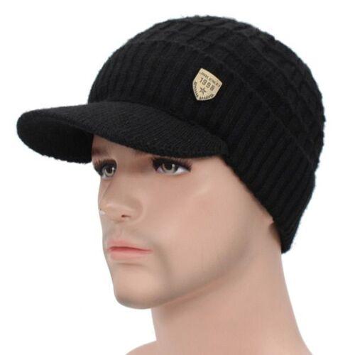 Hommes Sports Chapeau d/'hiver en mailles visière bonnet polaire doublé Billed Beanie Avec Brim Cap