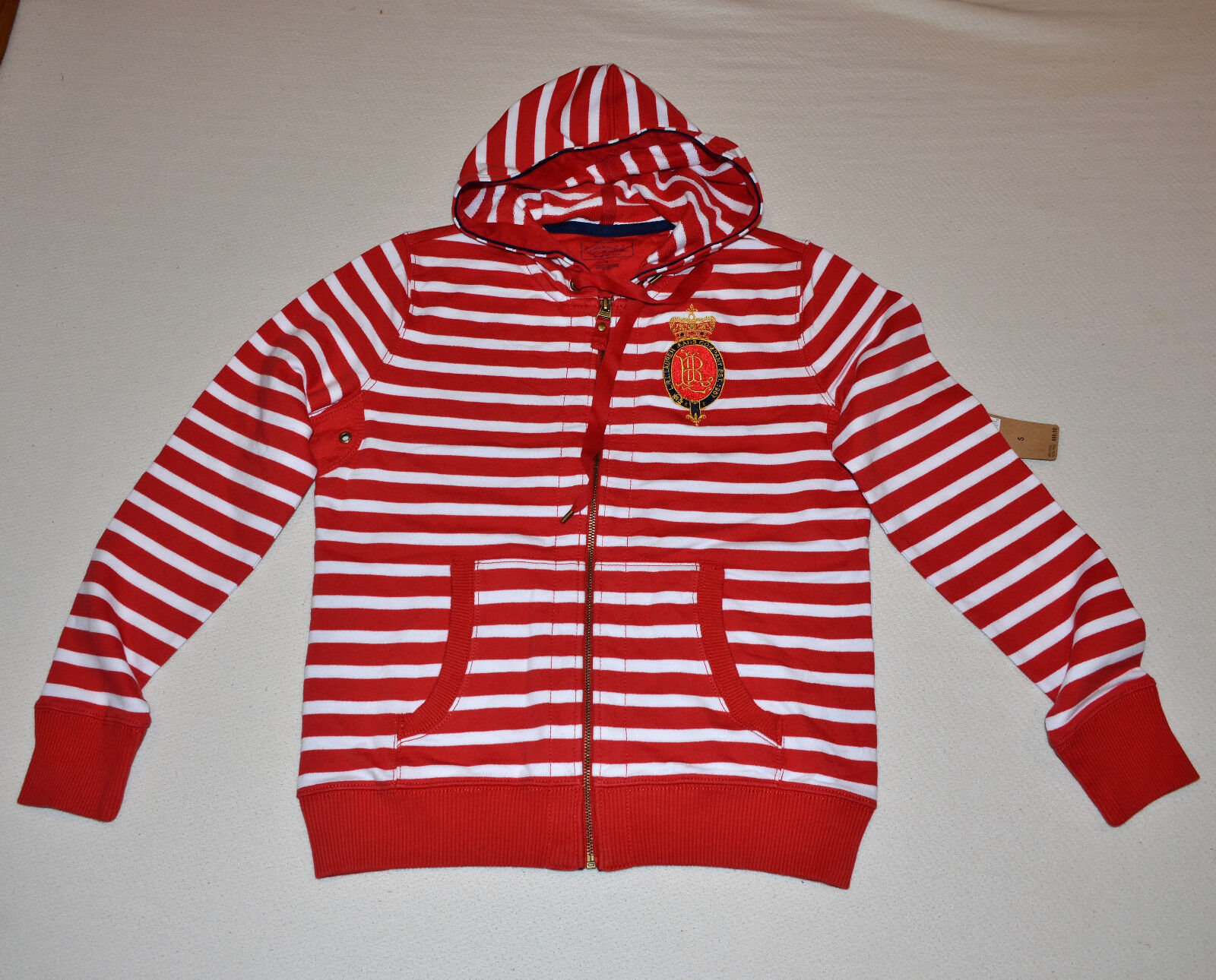 99 Ralph Lauren Jean Polo Provence Fashio Sweatshirt Sweater Zipped Red New S