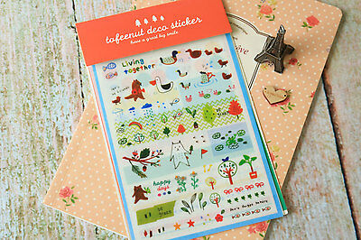 #48 cute toffeenut animals deco stickers have a great big smile 7 sheets/set