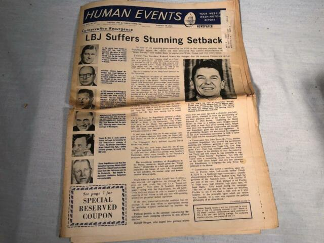 NOVEMBER 1966 NEWSPAPER HUMAN EVENTS WASHINGTON DC RONALD REAGAN COVER PHOTO