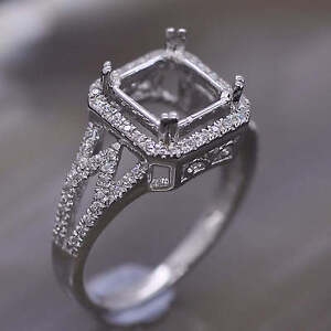 Square Cut 8x8mm 14K White Gold Natural Diamond Semi Mount Ring