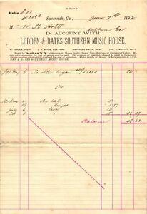 1892 LUDDEN & BATES SOUTHERN MUSIC HOUSE SAVANNAH GA TO ASHBURN GA INVOICE