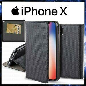 CUSTODIA A PORTAFOGLIO LIBRO per APPLE IPHONE X Cover Pelle Nera ...
