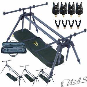 Karpfen Rod Pod 3 Swing 6 Ruten Auflagen Halter +Tasche 2 Buzzer Bar