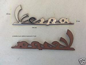 PLAQUE-PIAGGIO-VESPA-pour-coffre-LONGUE-100x32-mm-en-PVC-chrome-adhesif