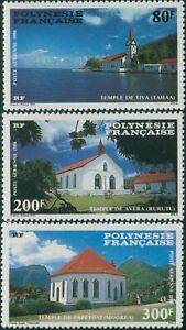 French-Polynesia-1986-Sc-C221-C223-SG495-497-Protestant-Churches-set-MNH