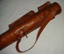 Geoffrey | VINTAGE TAN LEATHER TUBE GOLF CLUB CARRYING BAG + 2 POCKETS | RETRO