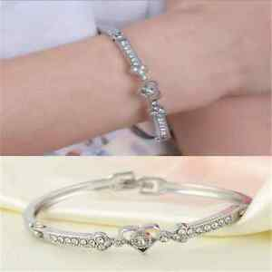 1PC Women Crystal Charm Jewelry Hot Heart Bangle Fashion Silver Plated Bracelet