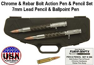 Bolt Action Ballpoint Pencil Set In Rifle Case With Chrome Rebar Body 286 Ebay