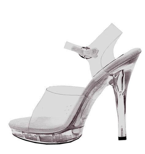 509c2eeaacd Ellie M-brook Platform 5 Inch Spike High HEELS Strappy Sandals Shoes Clear  6 for sale online