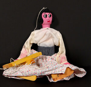 Vintage Handmade Mexican Folk Art String Puppet Marionette Lady Made in Mexico