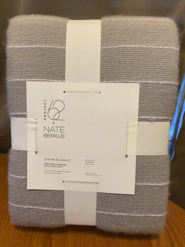 Nate Berkus Gray Stripe Blanket King Size Soft And Lightweight Project62