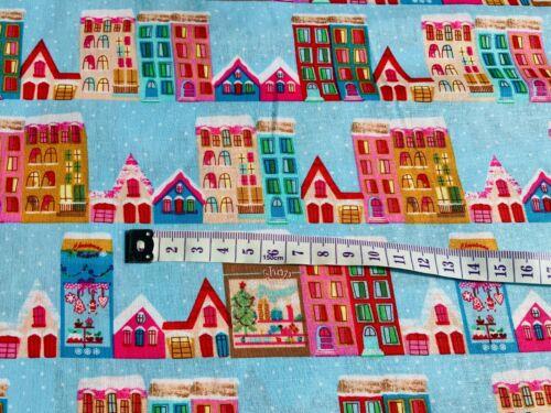 Kids Fabric Blue Houses Christmas Fabric Cotton Fabric Holiday Fabric