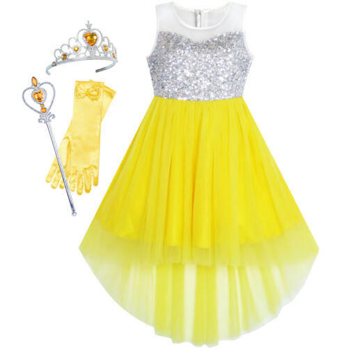 Flower Girl Dress Sequin Mesh Party Wedding Princess Tulle Kid Size 7-14 Pageant