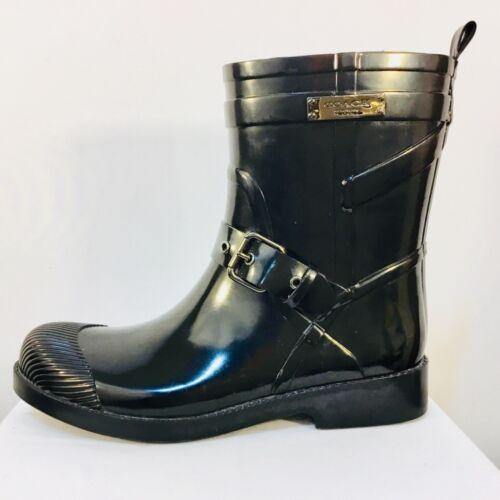 COACH Lester Rain Boots, Navy Blue, size 6
