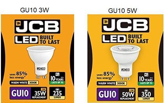 JCB GU10 LED 3W 5W Warm White Cool White Daylight Bulbs