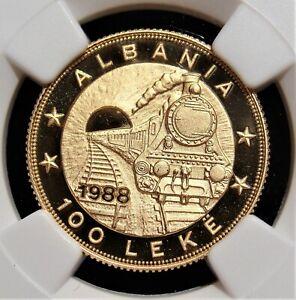 Albanie-Or-Preuve-034-Railroad-Anniversaire-034-100-Leke-1988-PR70-Ultra-Camee-NGC