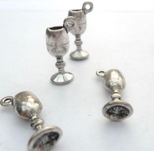 10 X De Plata Tibetana Copa Vidrio adornos de plomo y Pb Libre