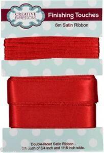 "Satin Ribbon SCARLET Colour 3m each 3//4/"" x 1//16/"" Double Faced"