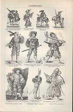 Lithografie 1906: Landsknechte. nach Holbein HS Beham F. Brun D. Hopfer J.Amman