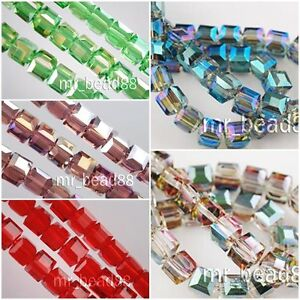 Loose-Mixed-50pcs-Charms-Cube-Glass-Crystal-Rondelle-Finding-Spacer-Beads-6x6mm