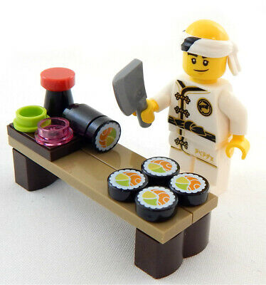 NEW LEGO SUSHI LOT with CHEF Minifig figure minifigure salmon roll food foodie