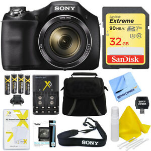 Sony-Cyber-shot-DSC-H300-20-1MP-35x-Zoom-Camera-Black-32GB-Extra-Batteries-Case