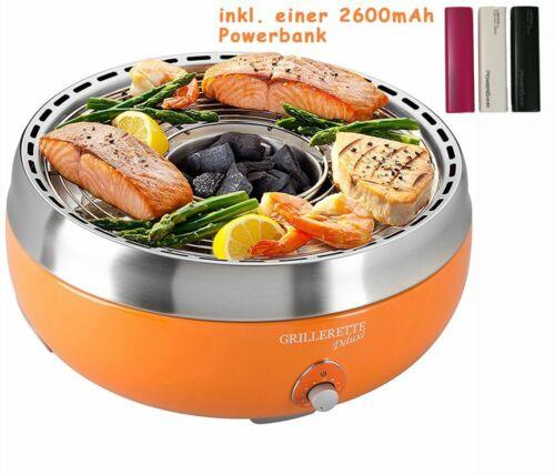Raucherfreier Holzkohlegrill Aktivbelüftung Tasche Orange inkl 2600mAh Powerbank