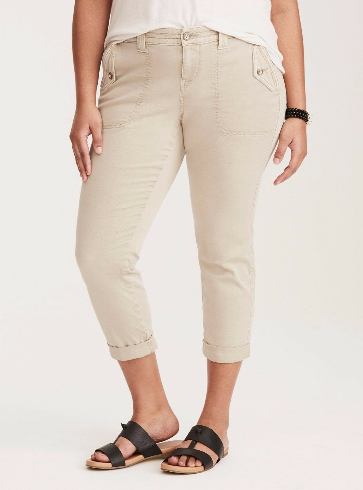 Torrid Stretchy Cropped Military Pants Stone Wash 14