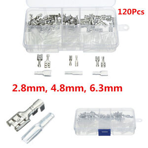 120Pcs-2-8-4-8-6-3mm-Crimp-Insulating-Terminal-Female-Spade-Connector-Sleeve-Kit