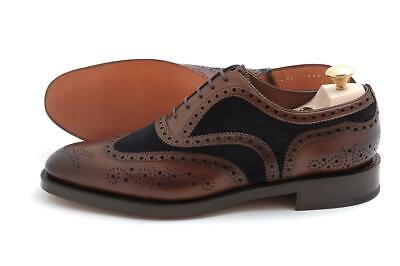 mens handmade shoes twotone wingtip brogue style formal