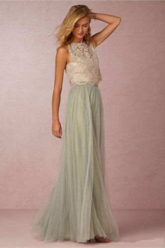 Lace Tulle Two Pieces Prom Dresses Bohemia Formal Wedding Bridesmaid Party Gowns