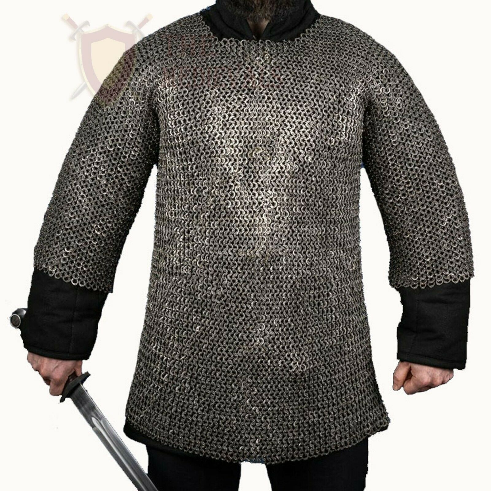 THE MEDIEVALS 09 MM ID MS Flat Riveted Haubergoen Chain Mail Shirt Armor SCA