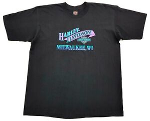 Vintage-Harley-Davidson-Aqua-Purple-Grape-95-Tee-Black-Size-XL-Milwaukee-T-Shirt