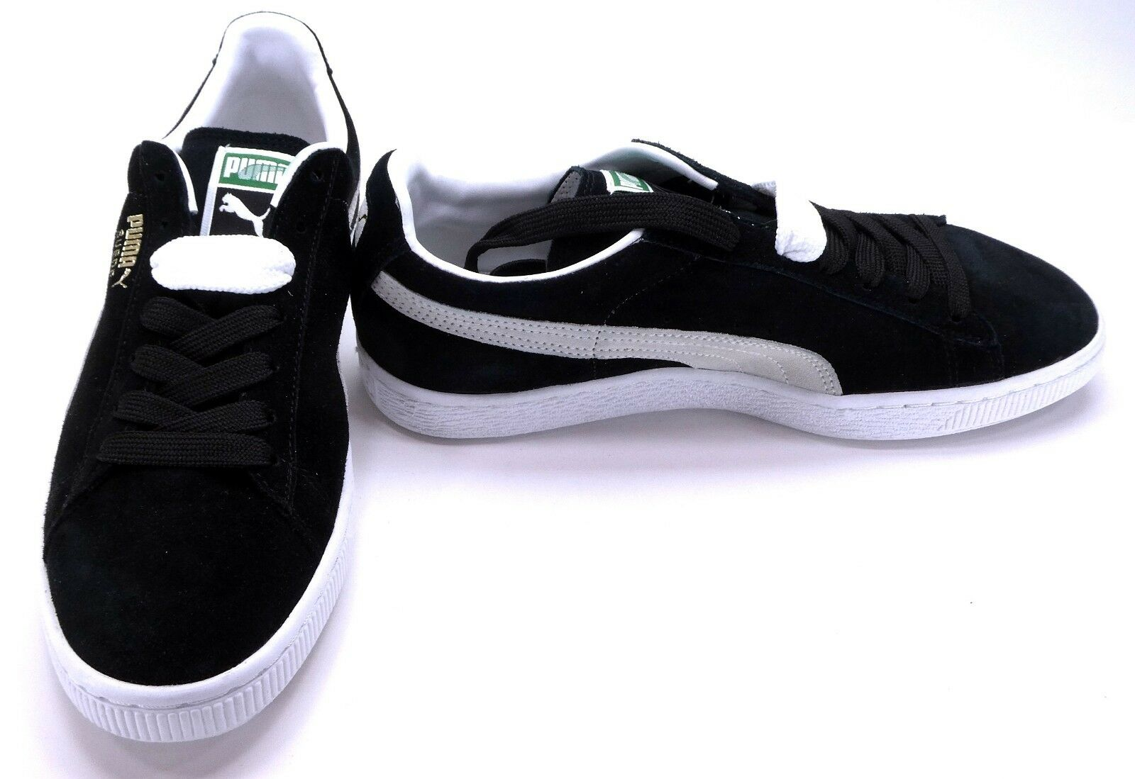 Puma shoes Suede Athletic Black Cream White Sneakers Size 8.5