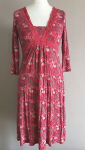 Lovely-Ladies-White-Stuff-Floral-Pattern-Jersey-Dress-Size-10